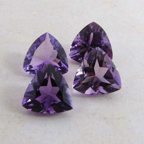 Certified Natural Amethyst AAA Quality 11 mm Faceted Trillion 2 pcs Pair