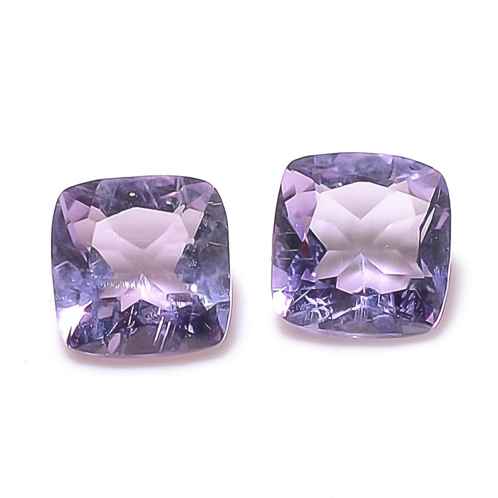 Certified Natural Amethyst AAA Quality 11 mm Faceted Cushion 2 pcs Pair