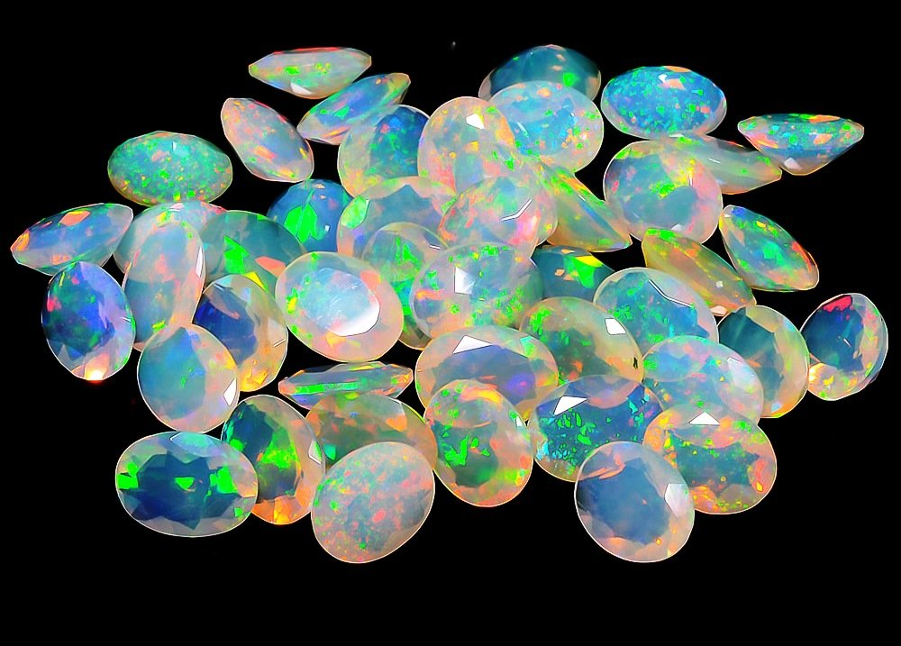 Certified Natural Ethiopian Opal AAA Quality 8x10 mm Faceted Oval 10 pcs Lot loose gemstone