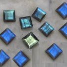 Natural Labradorite 6mm Square  Cut 100  Pieces Calibrated Size Gray Color Blue Power Gemstone