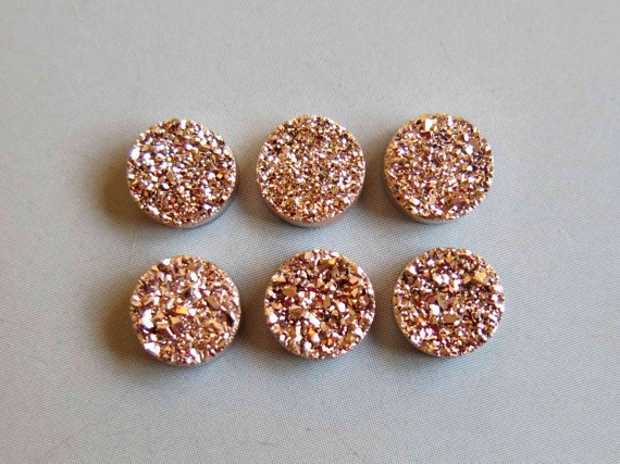 6mm  Natural  Rose Gold Color Coating Flat Druzy Round 10  Pieces  Best Top Rose Gold  Gemstone