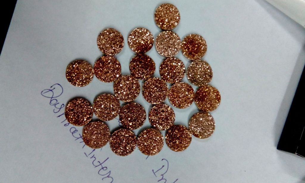 8mm  Natural  Rose Gold Color Coating Flat Druzy Round 5  Pieces  Best Top Rose Gold  Gemstone