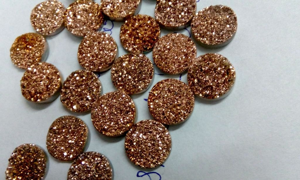 11mm  Natural  Rose Gold Color Coating Flat Druzy Round 25  Pieces  Best Top Rose Gold  Gemstone