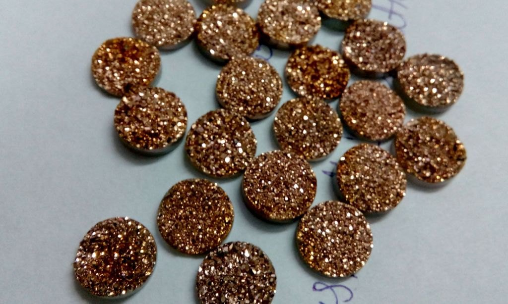 10mm  Natural  Rose Gold Color Coating Flat Druzy Round 25  Pieces  Best Top Rose Gold  Gemstone