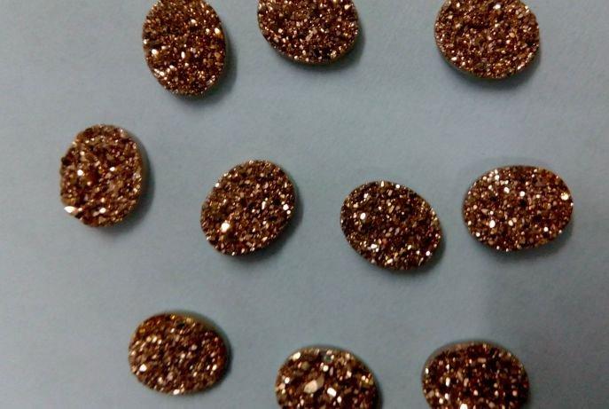 10x14mm  Natural  Rose Gold Color Coating Flat Druzy Oval 50  Pieces  Best Top Rose Gold  Gemstone