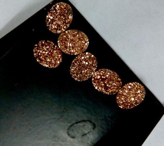 18x13mm  Natural  Rose Gold Color Coating Flat Druzy Oval 100  Pieces  Best Top Rose Gold  Gemstone
