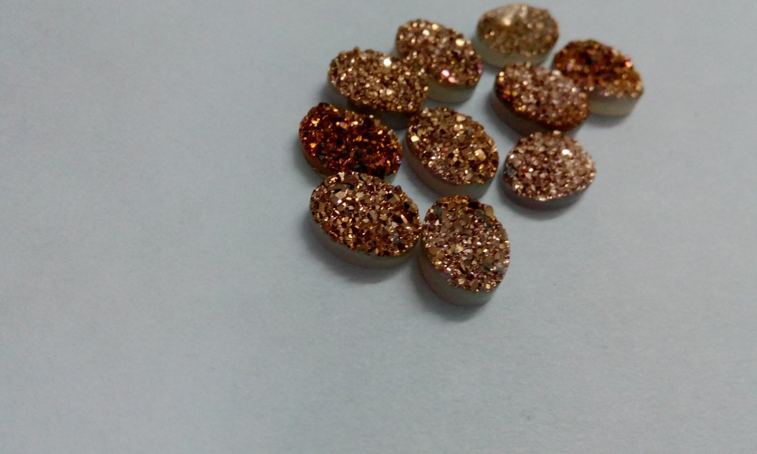 9x7mm  Natural  Rose Gold Color Coating Flat Druzy Oval 5  Pieces  Best Top Rose Gold  Gemstone