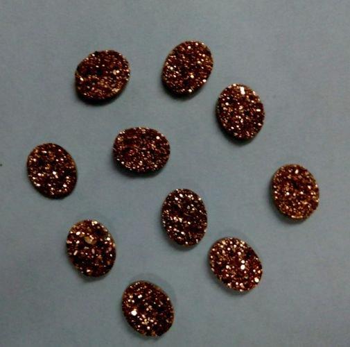 10x12mm  Natural  Rose Gold Color Coating Flat Druzy Oval 50 Pieces  Best Top Rose Gold  Gemstone