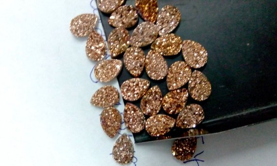 10x12mm  Natural  Rose Gold Color Coating Flat Druzy Pear 10 Pieces  Best Top Rose Gold  Gemstone