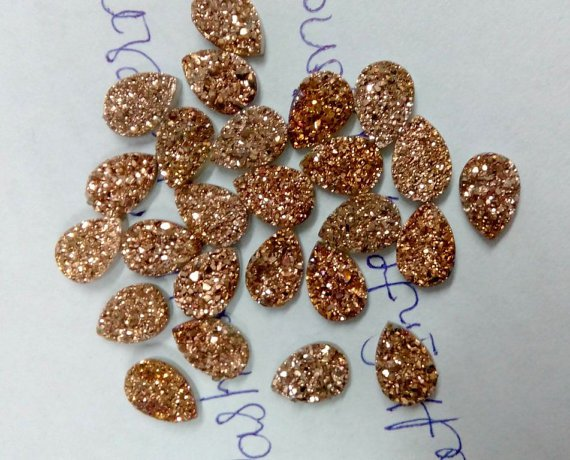 7x10mm  Natural  Rose Gold Color Coating Flat Druzy Pear 5 Pieces  Best Top Rose Gold  Gemstone