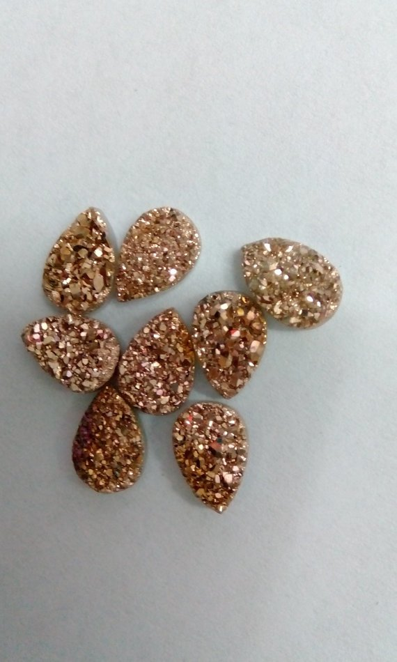 16x12mm  Natural  Rose Gold Color Coating Flat Druzy Pear 10 Pieces  Best Top Rose Gold  Gemstone