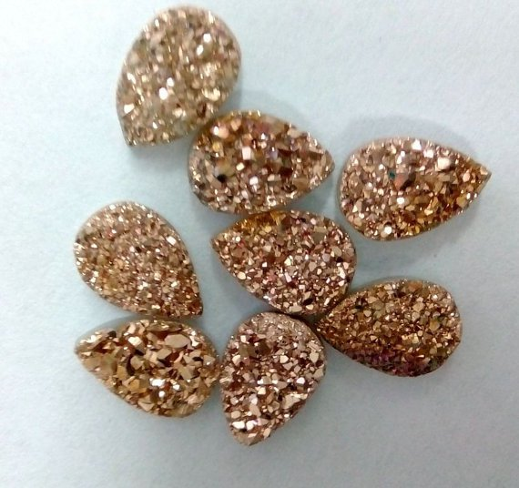 18x13mm  Natural  Rose Gold Color Coating Flat Druzy Pear 10 Pieces  Best Top Rose Gold  Gemstone
