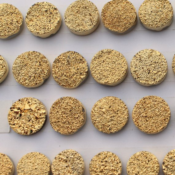 8mm  Natural  Gold Color Coating Flat Druzy Round 10 Pieces Lot Best Top Gold Color Loose Gemstone