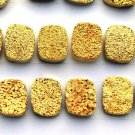 8x6mm Natural Gold Color Coating Flat Druzy Long Cushion 25 Pieces Gold Color Gemstone