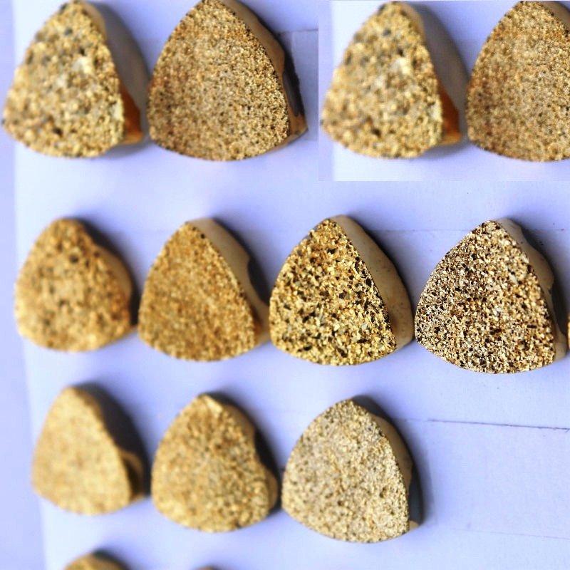 8mm Natural Gold Color Coating Flat Druzy Trillion 25 Pieces Gold Color Gemstone