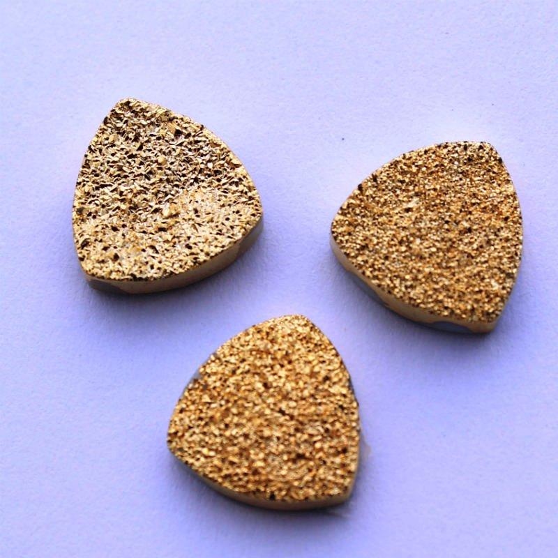 11mm Natural Gold Color Coating Flat Druzy Trillion 10 Pieces Gold Color Gemstone