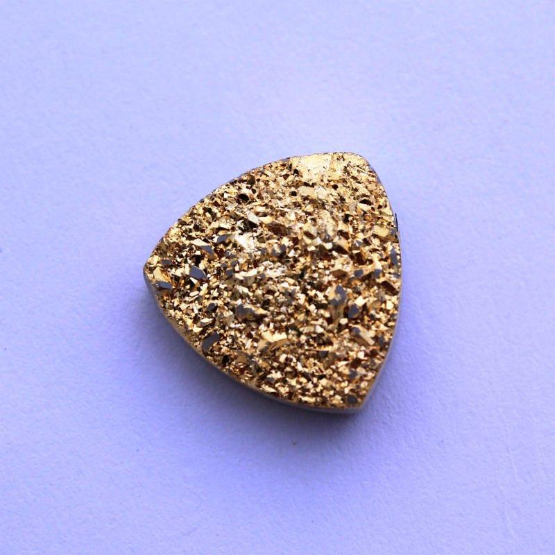 10mm Natural Gold Color Coating Flat Druzy Trillion 25 Pieces Gold Color Gemstone
