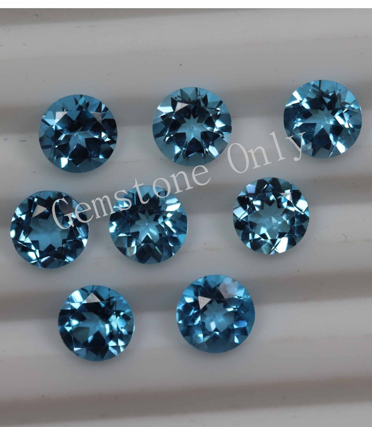 6mm Natural Swiss Blue topaz Faceted Cut Round 25 Pieces Blue Color Calibrated Size Loose Gemstone