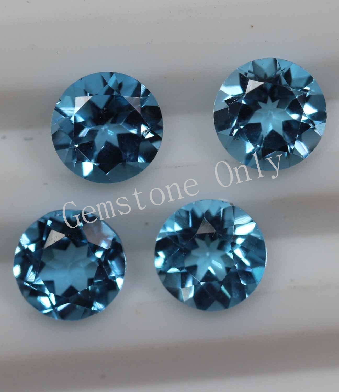 7mm Natural Swiss Blue topaz Faceted Cut Round 5 Pieces Blue Color Calibrated Size Loose Gemstone