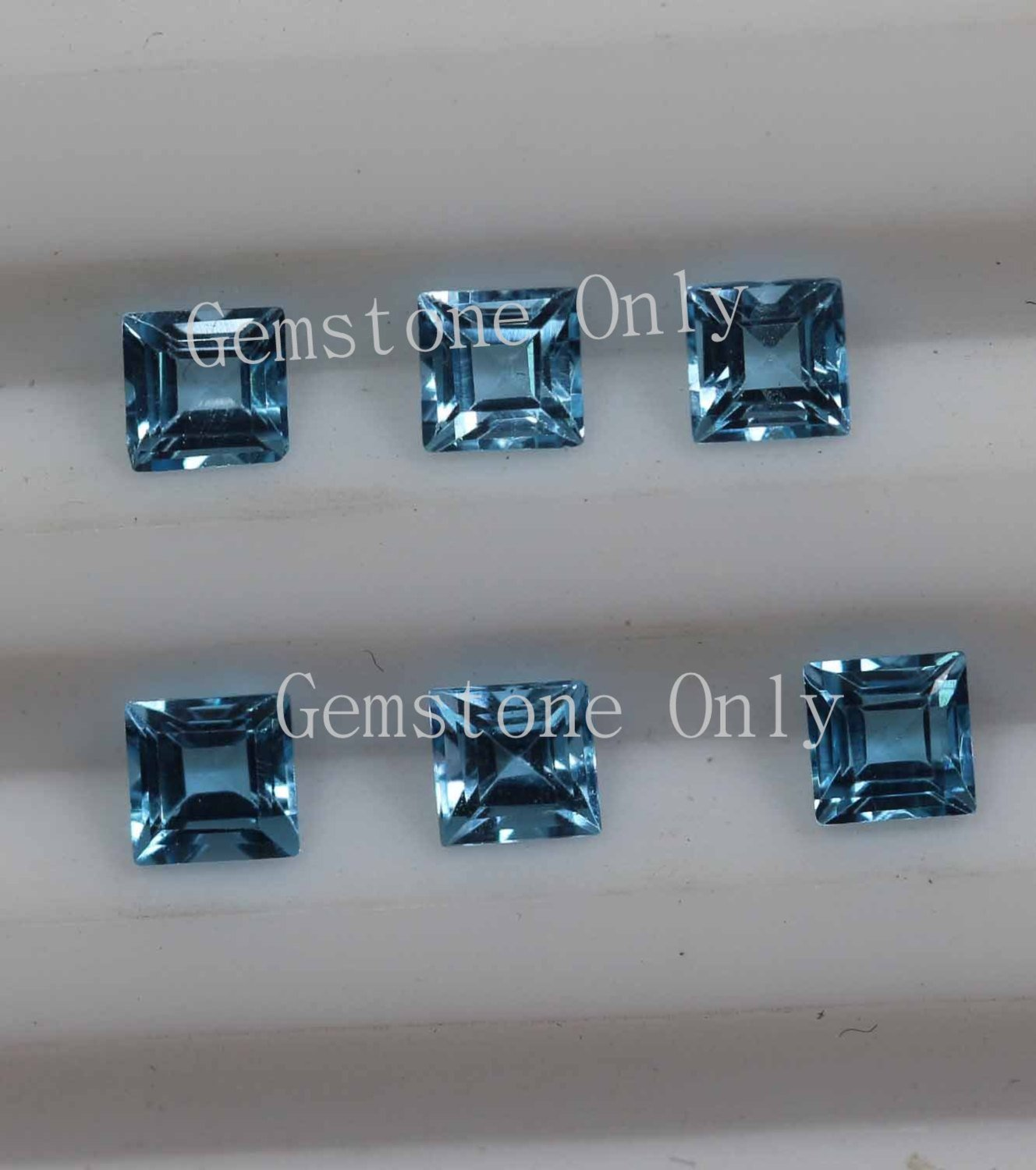 4mm Natural Swiss Blue topaz Faceted Cut Square 2 Piece Blue Color Calibrated Size Loose Gemstone