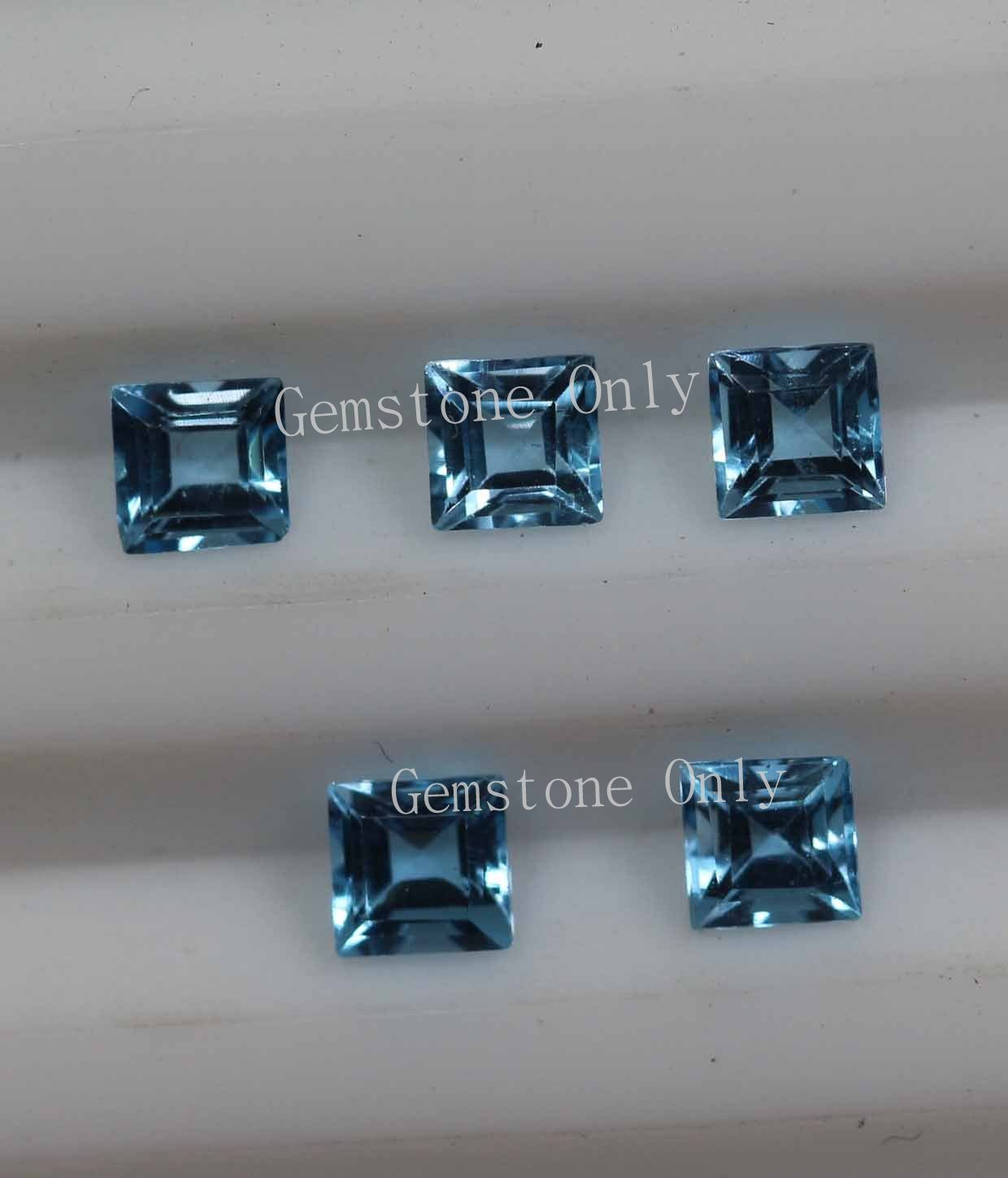 5mm Natural Swiss Blue topaz Faceted Cut Square 10 Pieces Blue Color Calibrated Size Loose Gemstone