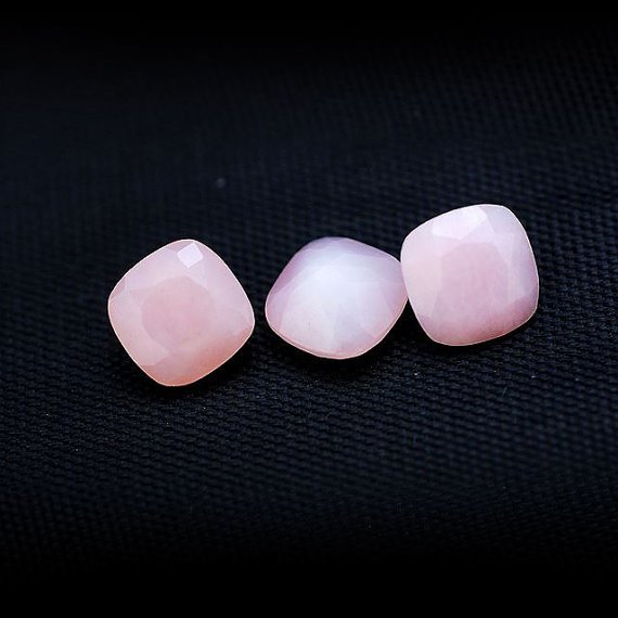 4mm Natural Pink Opal Faceted Cut Cushion 25 Pieces Top Quality  Pink Color  Loose Gemstone