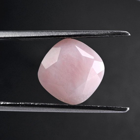 18mm Natural Pink Opal Faceted Cut Cushion 1 Piece Top Quality  Pink Color  Loose Gemstone