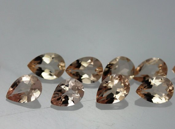 Natural Morganite 7x10mm Pear  Faceted Cut 5 Pieces Top Quality Peach Color Loose Gemstone