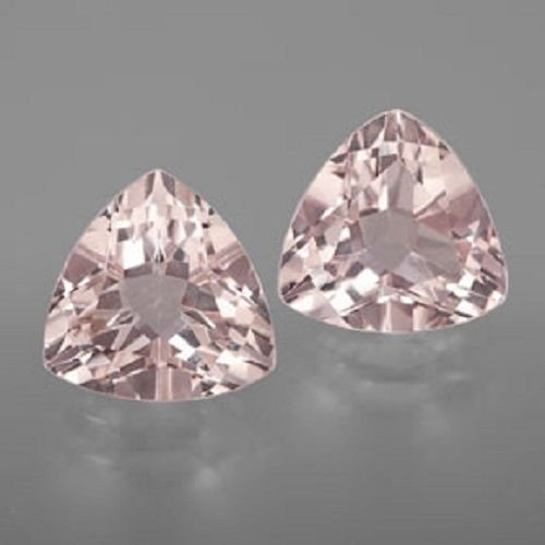 Natural Morganite 4mm Trillion  Faceted Cut 25 Pieces Top Quality Peach Color Loose Gemstone