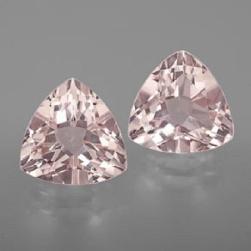 Natural Morganite 5mm Trillion  Faceted Cut 2 Piece Top Quality Peach Color Loose Gemstone