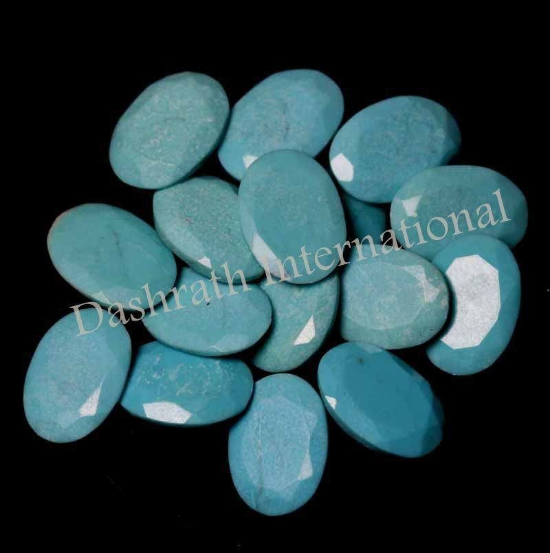 10x14mm Natural Turquoise Faceted Cut Calibrated Oval 10 Pieces Turquoise Color Loose Gemstone