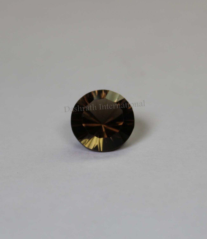 11mm Natural Smoky Quartz Concave Cut Round 1 Piece   (SI) Top Quality  Loose Gemstone