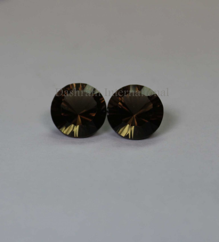12mmNatural Smoky Quartz Concave Cut Round 2 Piece (1 Pair )   (SI) Top Quality  Loose Gemstone