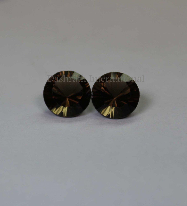 14mmNatural Smoky Quartz Concave Cut Round 2 Piece (1 Pair )   (SI) Top Quality  Loose Gemstone