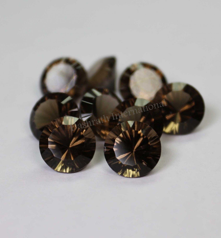 14mmNatural Smoky Quartz Concave Cut Round 10 Pieces Lot    (SI) Top Quality  Loose Gemstone