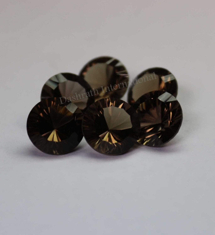 14mmNatural Smoky Quartz Concave Cut Round 50 Pieces Lot    (SI) Top Quality  Loose Gemstone
