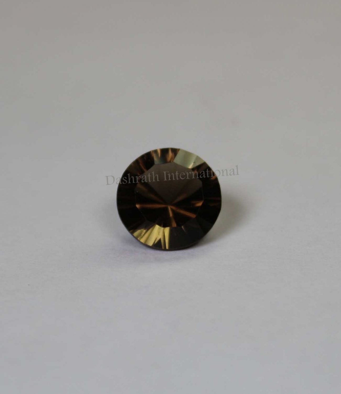 16mmNatural Smoky Quartz Concave Cut Round 1 Piece   (SI) Top Quality  Loose Gemstone