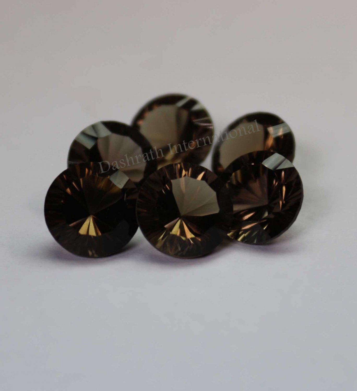 20mm Natural Smoky Quartz Concave Cut Round 10 Pieces Lot    (SI) Top Quality  Loose Gemstone