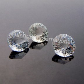 9mm Natural Crystal Quartz Concave Cut Round 2 Piece (1 Pair) Color White Top Quality Loose Gemstone