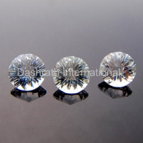 11mmNatural Crystal Quartz Concave Cut Round 1 Piece Color White Top Quality Loose Gemstone