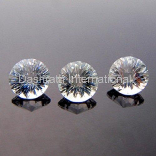 11mmNatural Crystal Quartz Concave Cut Round 2 Piece (1 Pair) Color White Top Quality Loose Gemstone