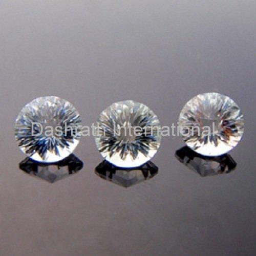 14mmNatural Crystal Quartz Concave Cut Round 2 Piece (1 Pair) Color White Top Quality Loose Gemstone