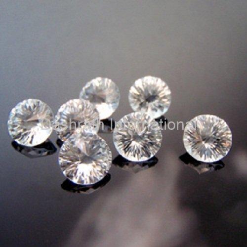 16mmNatural Crystal Quartz Concave Cut Round 2 Piece (1 Pair) Color White Top Quality Loose Gemstone