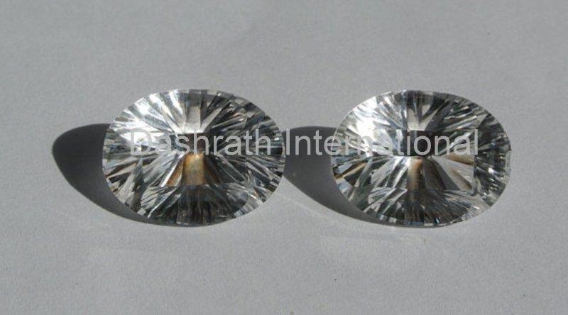 13x18mm  Natural Crystal Quartz Concave Cut  Oval 25 Pieces Lot Top Quality Loose Gemstone