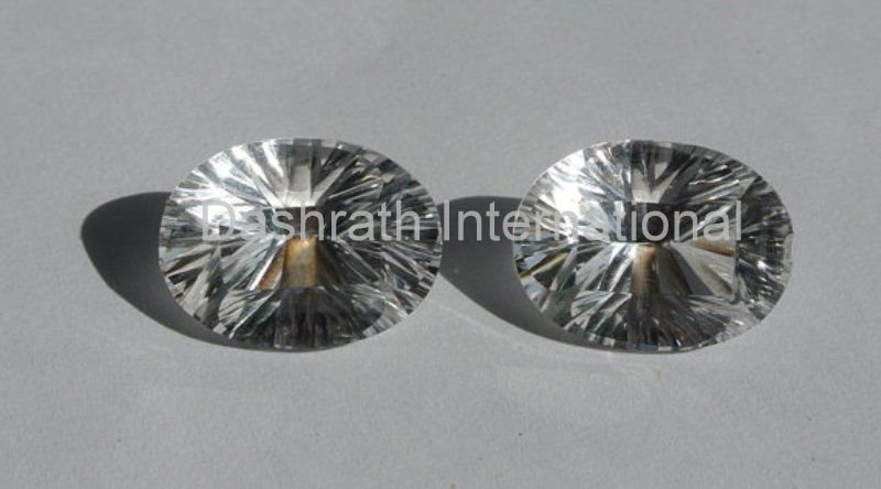 13x18mm  Natural Crystal Quartz Concave Cut  Oval 50 Pieces Lot Top Quality Loose Gemstone