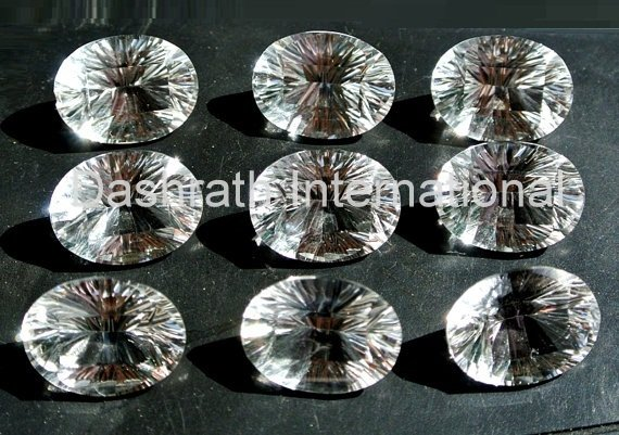 15x20mm Natural Crystal Quartz Concave Cut  Oval 2 Piece (1 Pair ) Top Quality Loose Gemstone
