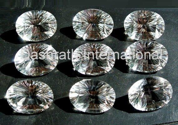 15x20mm   Natural Crystal Quartz Concave Cut  Oval 50 Pieces Lot Top Quality Loose Gemstone