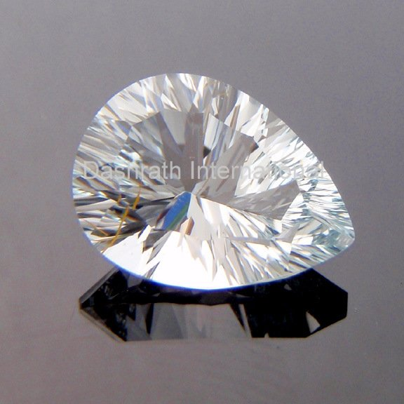 12x16mm Natural Crystal Quartz Concave Cut Pear 1 Piece Top Quality Loose Gemstone