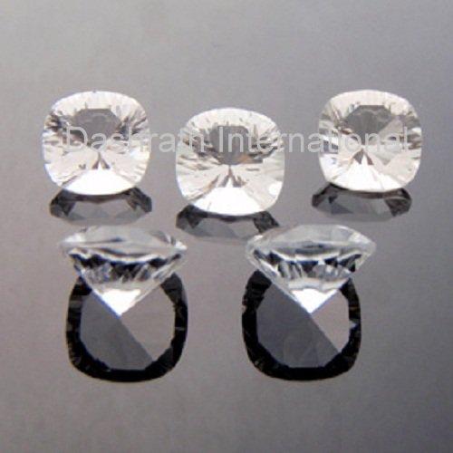 9mm Natural Crystal Quartz Concave Cut Cushion 25 Pieces Lot  Top Quality Loose Gemstone