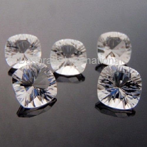 12mm Natural Crystal Quartz Concave Cut Cushion 2 Piece (1 Pair )  Top Quality Loose Gemstone